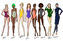 Set Of Female Swimsuit Illustr...