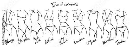 Fotografering set of female swimsuit illustration