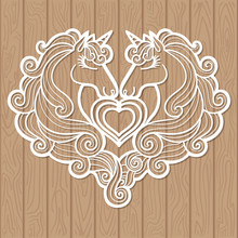 Template For Laser Cutting. Two Unicorns And A Heart. Vector