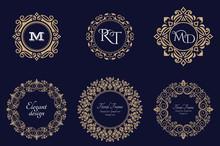 Set Of Circular Baroque Patterns