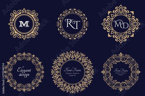 Photo Set of circular baroque patterns