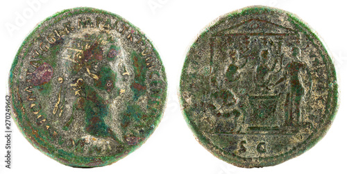 Fotografia, Obraz Dupondius. Ancient Roman bronze coin of Emperor Domitian.