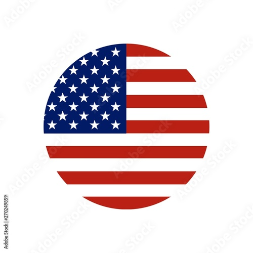 Circle button Icon of national flag of The United States of America with red and blue colors. Vector EPS10 illustration. Wall mural
