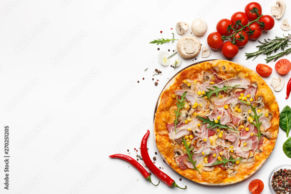 Fototapety, obrazy: Pizza With Ham And Rocket Salad On White Background With Ingredients Around