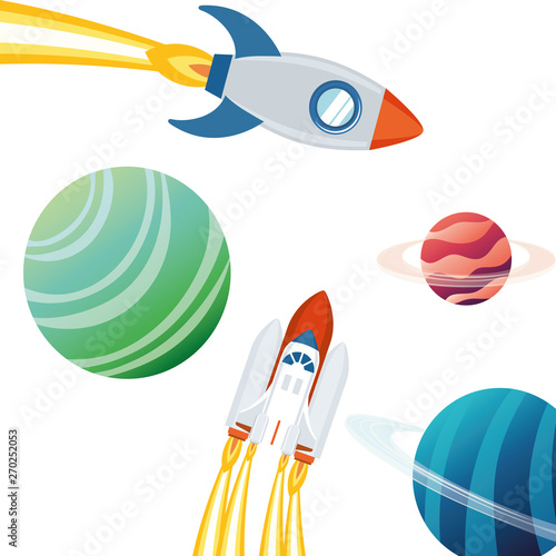 rocket in the space with planets of the solar system Canvas-taulu