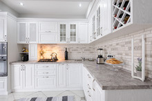 Modern White Wooden Kitchen In...