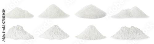 Leinwand Poster Set with piles of protein powder on white background