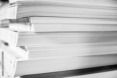Photo A huge pile of paper in the printing house