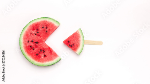 Pacman watermelon eating small fresh fruit popsicle Canvas-taulu