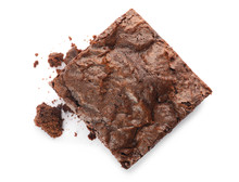 Piece Of Fresh Brownie On Whit...