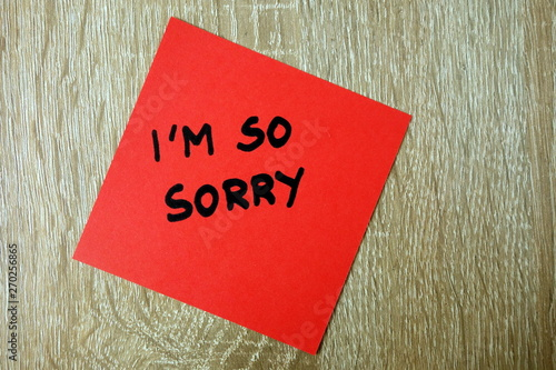 Fototapety, obrazy: Text I am so sorry written on red sticker