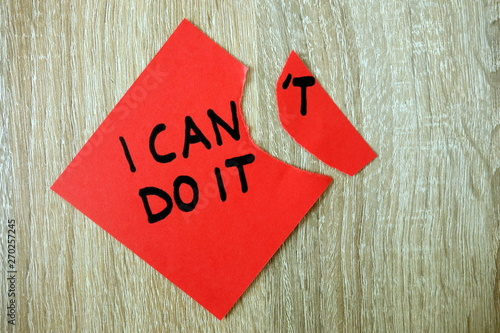 Fototapety, obrazy: Motivational text I can do it written on red sticker
