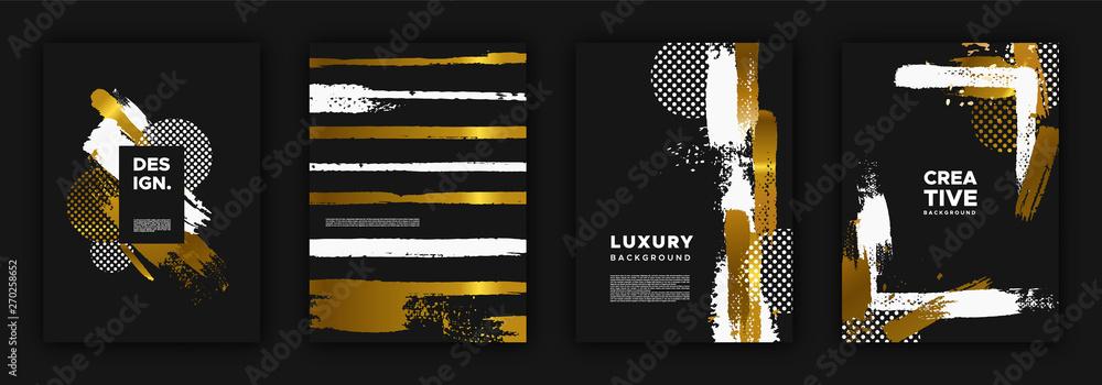 Obraz Gold and black luxury background design set fototapeta, plakat