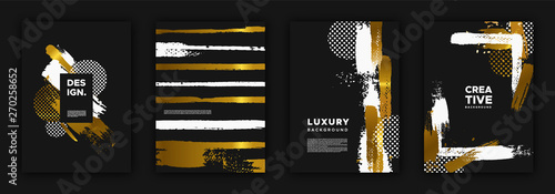 Tablou Canvas Gold and black luxury background design set