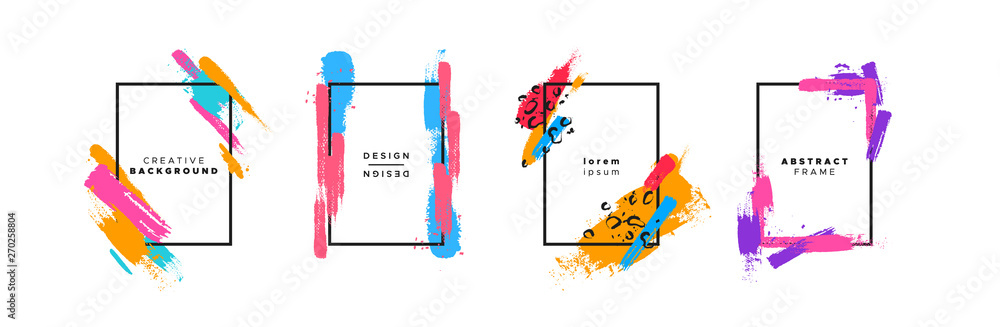 Fototapety, obrazy: Colorful brush paint background template set