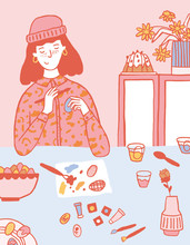 A Fashion Girl Painting Easter Eggs Illustration
