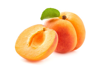 Apricot with slice on white