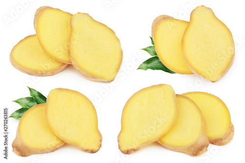 Fototapeta Fresh sliced ginger with leaves isolated on white background obraz