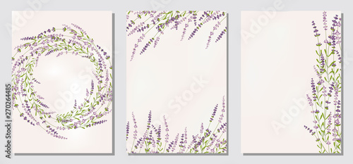 Cuadros en Lienzo Set floral ornament card template leaves floral frame