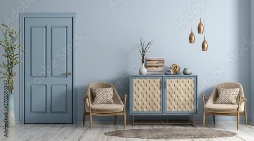 Fotografering  Modern living room interior with door and armchairs 3d rendering
