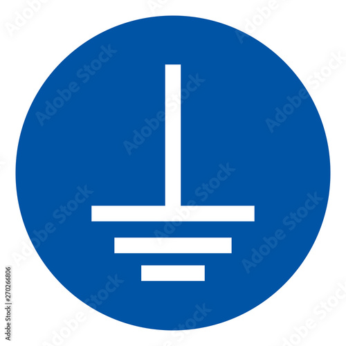 Connect An Earth Terminal To The Ground Symbol Sign,Vector Illustration, Isolated On White Background Label Wallpaper Mural