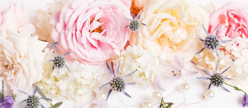 Fototapety, obrazy: Unfocused blur rose petals, abstract romance background, pastel and soft flower card