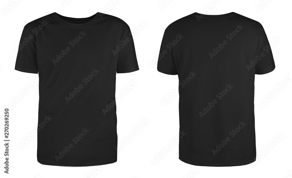 Fototapeta Men's black blank T-shirt template,from two sides, natural shape on invisible mannequin, for your design mockup for print, isolated on white background..