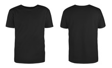 Men's Black Blank T-shirt Template,from Two Sides, Natural Shape On Invisible Mannequin, For Your Design Mockup For Print, Isolated On White Background..