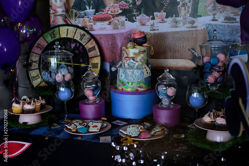 Fotografia, Obraz Decorations for a mad tea party Alice in Wonderland