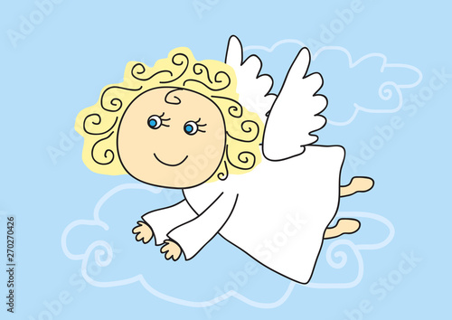 Cute angel flies on a blue background. Vector illustration. Wallpaper Mural