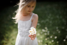 Girl In White Dress Holding Flowers While Standing In Field