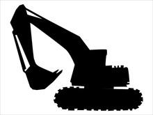 Silhouette Of Excavator