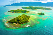 Aerial View Of The Tropical Mahe Island And Beautiful Lagoons
