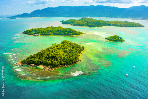 Fototapeta  Aerial view of the tropical Mahe Island and beautiful lagoons