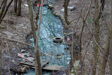 Pollution Of Rivers And Reservoirs, Spoiled With Garbage Waste, Environmental Problems And Pollution Of Planet
