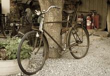Old Rusty Vintage Bike Near Bi...