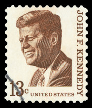 UNITED STATES OF AMERICA - CIRCA 1967: A Used Postage Stamp Printed In United States Shows A Portrait Of The President John Fitzgerald Kennedy In Brown, Circa 1967.