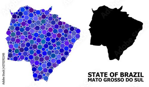 Fotografija  Blue Circle Mosaic Map of Mato Grosso Do Sul State