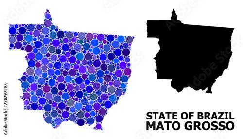 Fotografija  Blue Round Dot Mosaic Map of Mato Grosso State