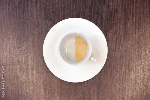 Fototapeta top view latte Cup / latte Cup with saucer obraz na płótnie