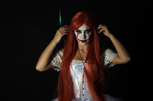 Girl Dressed As A Scary Clown