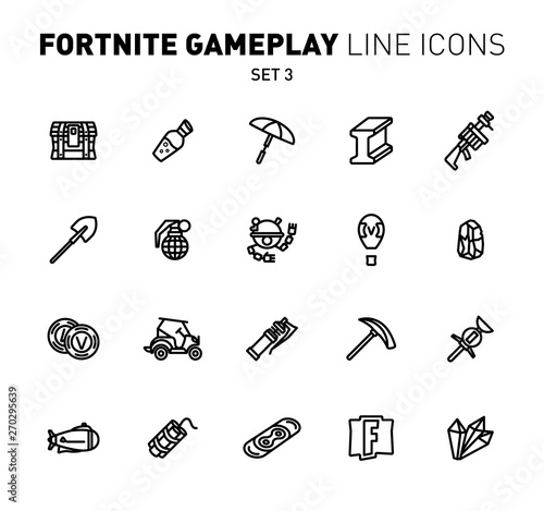 Fotografie, Obraz  Fortnite epic game play outline icons