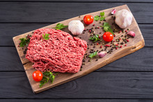 Raw Minced Beef Meat With Spic...