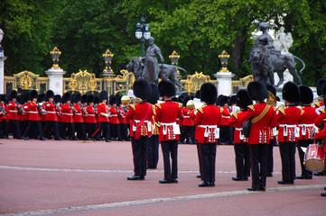 Royal palace guard's band at queens birthday celebration rehearsal 2019. Buckingham palace, London, UK.