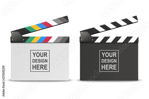 Fényképezés Vector 3d Realistic Opened White and Black Blank Movie Film Clap Board Icon Set Closeup Isolated on White Background