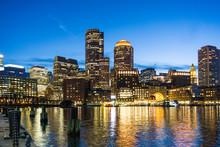 Night Skyline Boston Harbor