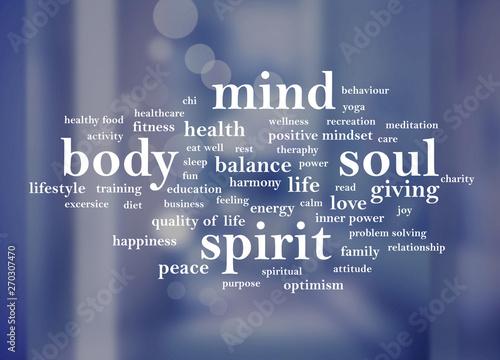 Fotografia  Body Mind Soul Spirit, Motivational Words Quotes Concept