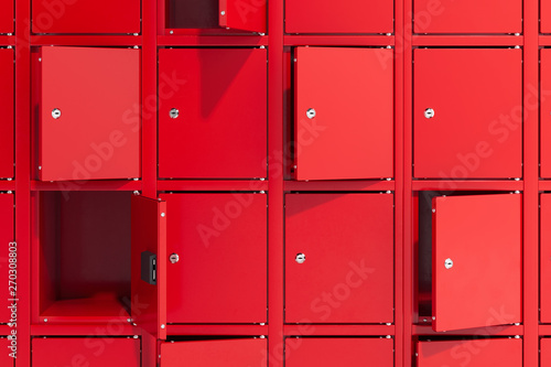 Safe deposit boxes with switched-on light Fototapeta