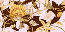 Seamless Pattern With Seashells In Baroque Style . Golden Shells, Starfishes, Ropes And Pearls On A Pink Background. Ornament With Sea Elements.