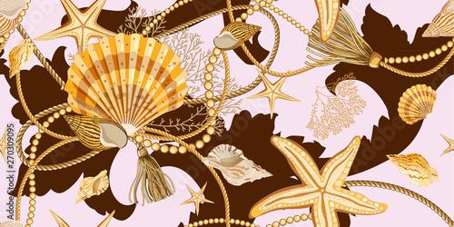 Tapety Barokowe  wzor-z-muszelek-w-stylu-barokowym-zlote-muszle-rozgwiazdy-liny-i-perly-na-rozowym-tle-ornament-z-elementami-morza